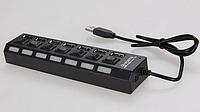 USB 2.0 hub 7 портов хаб с кнопками и LED  разветвитель концентратор, фото 1