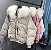 Жіноча зимова куртка з лисячим коміром (Е01462)