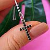 Серебряный крестик с черными камнями - Маленький крестик с черным цирконием серебро 925, фото 5