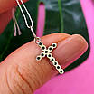 Серебряный крестик с черными камнями - Маленький крестик с черным цирконием серебро 925, фото 6