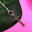 Серебряный крестик с черными камнями - Маленький крестик с черным цирконием серебро 925, фото 3