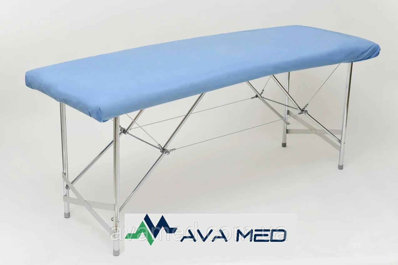 Чохол на кушетку на резинці Polix PRO&MED™0,8*2,1м (1шт/пач) зі спанбонду 70 г/м2 (ПЛОТНИЙ) Колір: блакитний