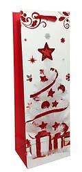 """Пакет картон 200грм, высокий """"Новогодний №3"""", 12*35*8см 6 шт в уп* //"""
