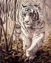 """Набір для розпису по номерах VA-0238 """"Білий тигр"""", розміром 40х50 см"""