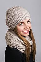 Красивый молодежный комплект шапка с шарфом-петлей