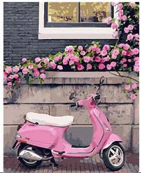 """Набір для розпису по номерах VA-0863 """"Рожевий скутер"""", розміром 40х50 см"""