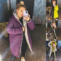 Р 42-48 Двухсторонняя зимняя удлиненная куртка с капюшоном 23197