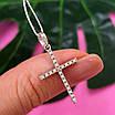 Серебряный двусторонний крестик с камнями - Серебряный крестик с черными камнями - Женский серебряный крестик, фото 4