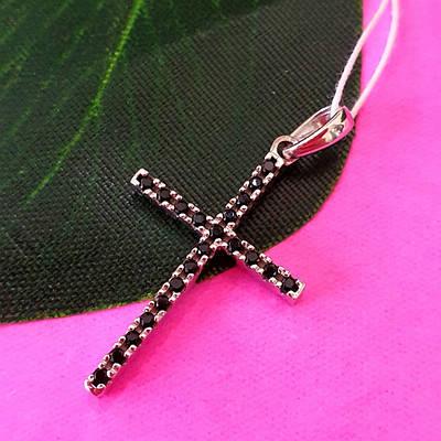 Серебряный двусторонний крестик с камнями - Серебряный крестик с черными камнями - Женский серебряный крестик