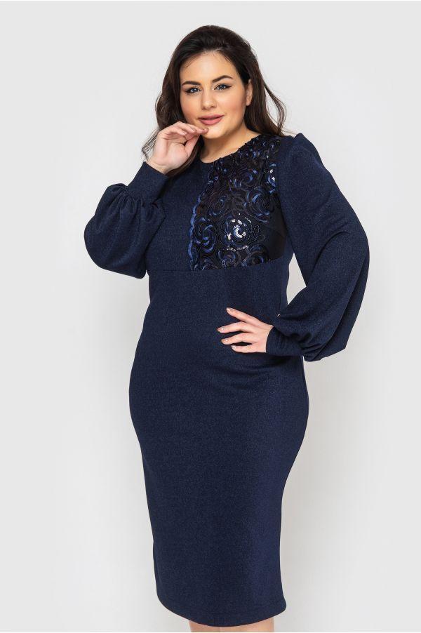Красивое БАТАЛЬНОЕ платье с напылением и паетками 50,52,54,56 размер