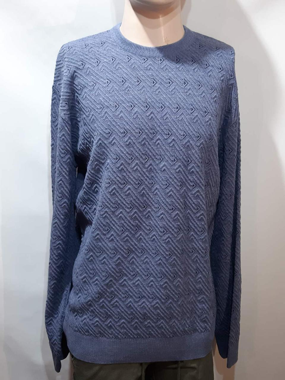 Мужской шерстяной свитер (Большие размеры) с хомутом Турция Синий