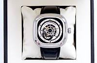 Мужские часы Sevenfriday P-Series P1B-1 Automatic механические с автоподзаводом на кожаном ремешке и сапфиром