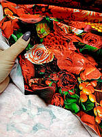 """Футер двунитка """"Красные цветы """" (диджитал), фото 1"""