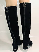 Blue Tempt.Широкая нога. Осенне-весенние сапоги на среднем каблуке. Натуральная замша. Размер 40, фото 7