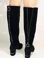 Blue Tempt.Широкая нога. Осенне-весенние сапоги на среднем каблуке. Натуральная замша. Размер 40, фото 10
