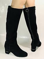 Blue Tempt.Широкая нога. Осенне-весенние сапоги на среднем каблуке. Натуральная замша. Размер 40, фото 3