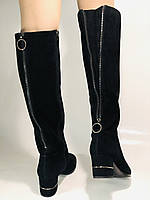 Blue Tempt.Широкая нога. Осенне-весенние сапоги на среднем каблуке. Натуральная замша. Размер 40, фото 4