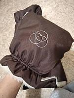 Муфта варежки теплые рукавицы для коляски коричневый, шоколад, фото 1