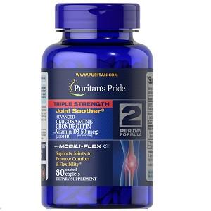 Для суставов и связок Puritan's Pride Triple Strength Glucosamine Chondroitin with Vitamin D3 (80 капсул.)