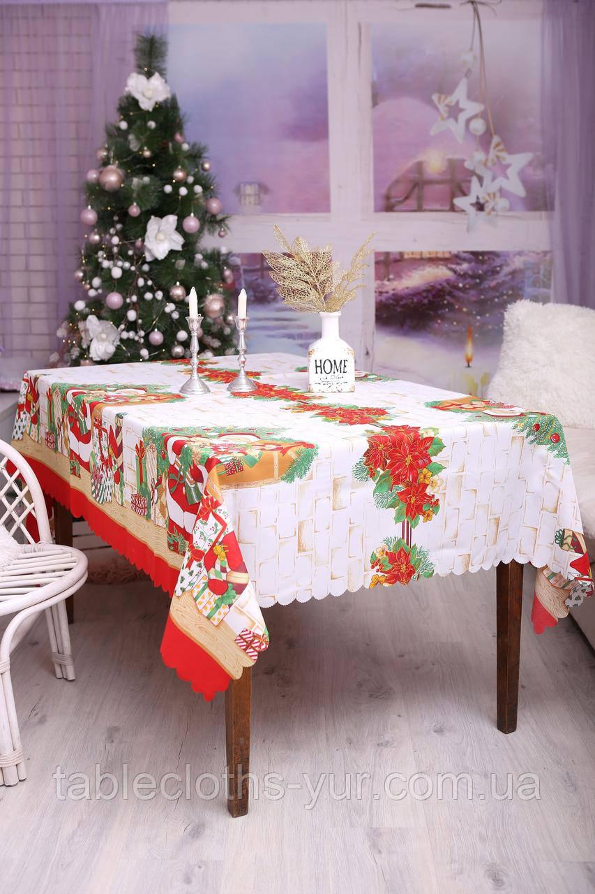 Скатертина Новорічна 150-220 з Дідом морозом