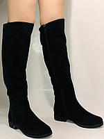 Molka.Натуральный мех. Зимние сапоги-ботфорты на низком каблуке. Натуральная замша. Р. 37 ,39,40., фото 4