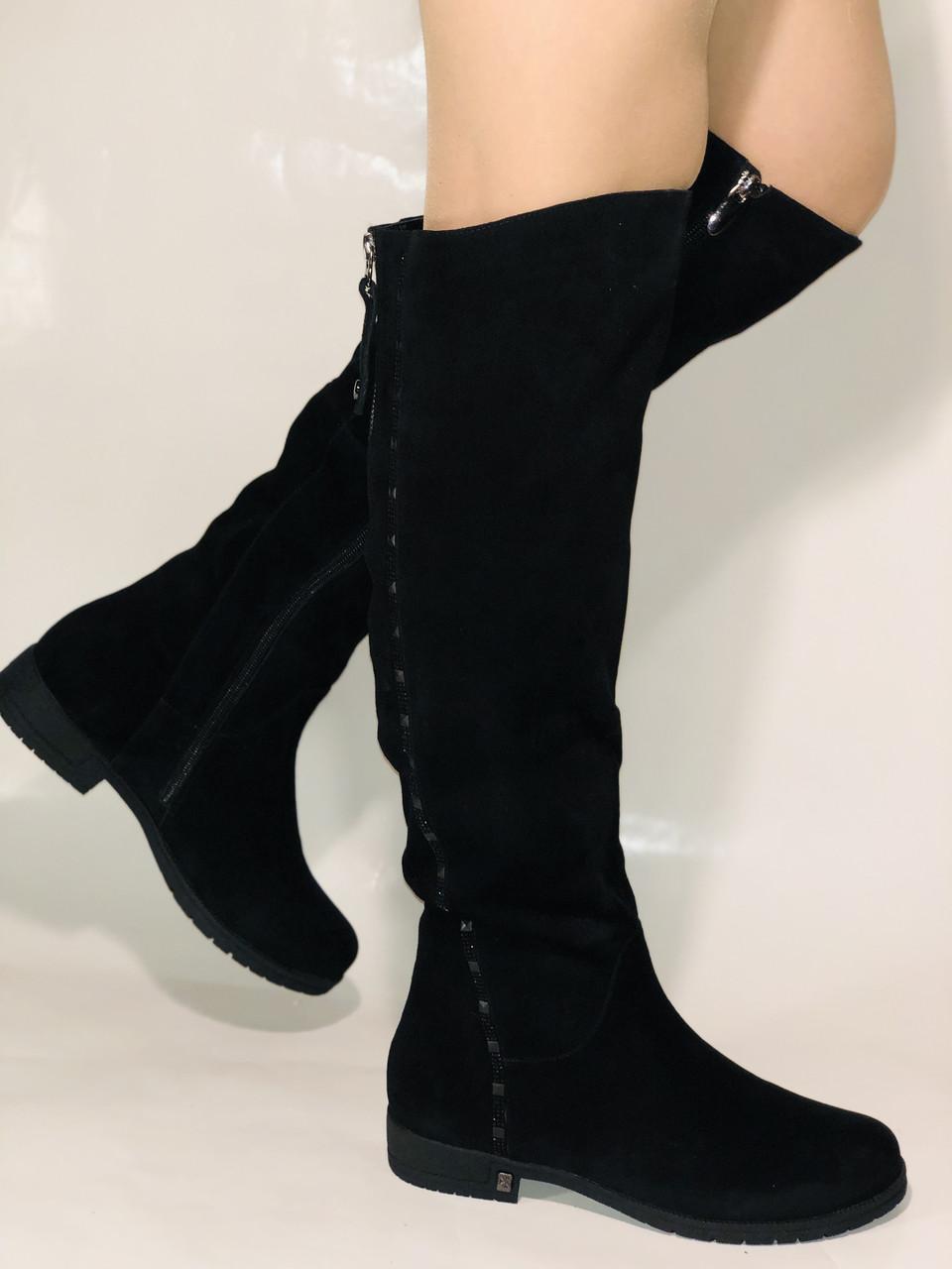 Molka.Натуральный мех. Зимние сапоги-ботфорты на низком каблуке. Натуральная замша. Р. 37 ,39,40.
