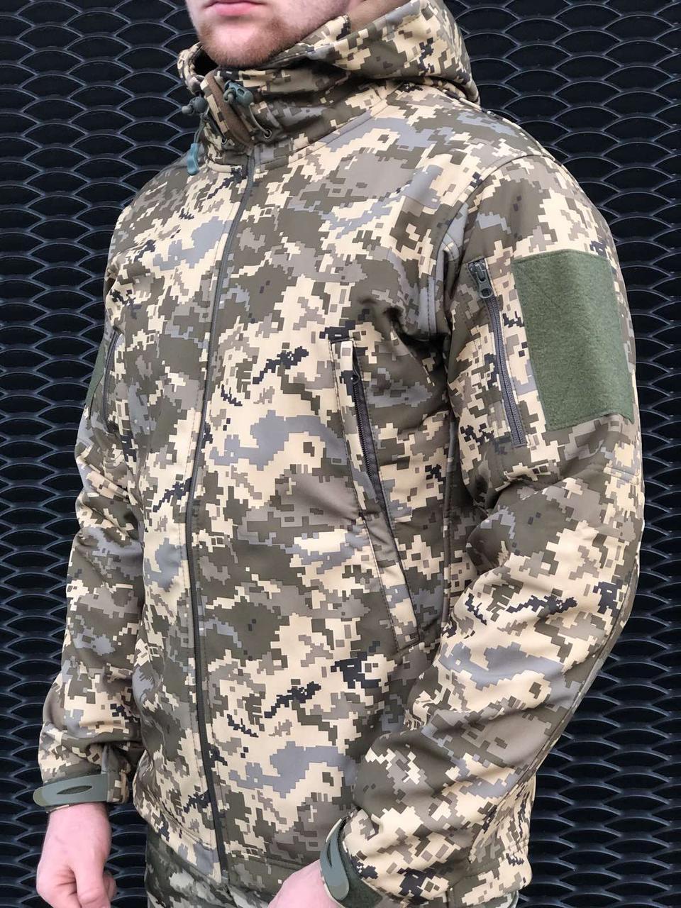 Куртка тактическая военная SOFT SHELL MILITARY пиксель для охоты, рыбалки, службы.