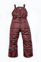Полукомбинезон зимний для девочки, зимний штаны на бретелях (бордо)