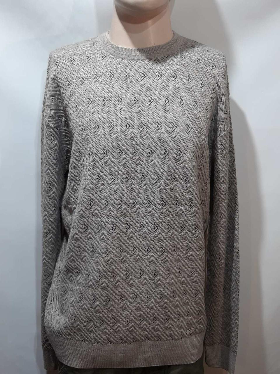 Шерстяной мужской свитер (большие размеры) с хомутом Турция Кофейный