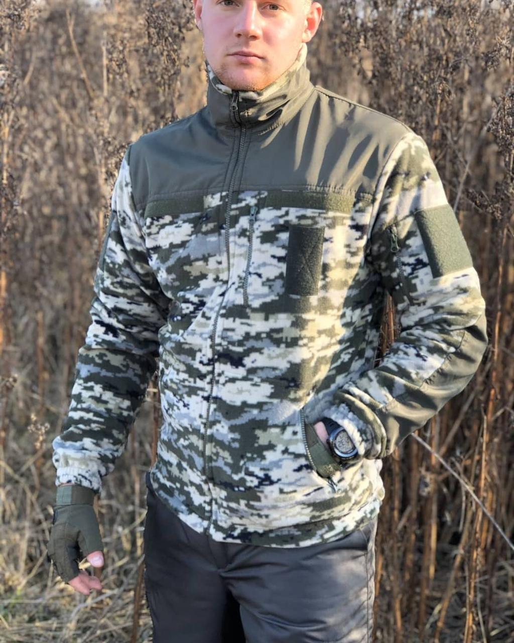 Кофта реглан флисовая военная армейская COMANDER Пиксель ЗСУ, реглан для рыбалки и охоты
