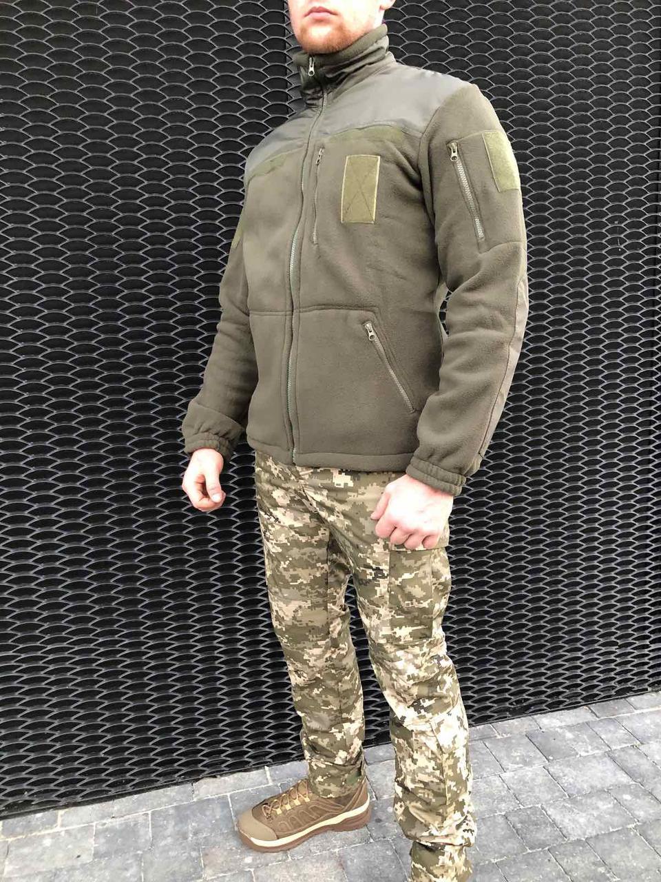 Тактический флисовый реглан кофта, для военных, рыбаков, и охотников  COMANDER-I OLIVE MAN