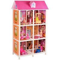 Будиночок 66886 3 поверхи, ляльки 3 шт., меблі, кор., 83,5-36-14., фото 1