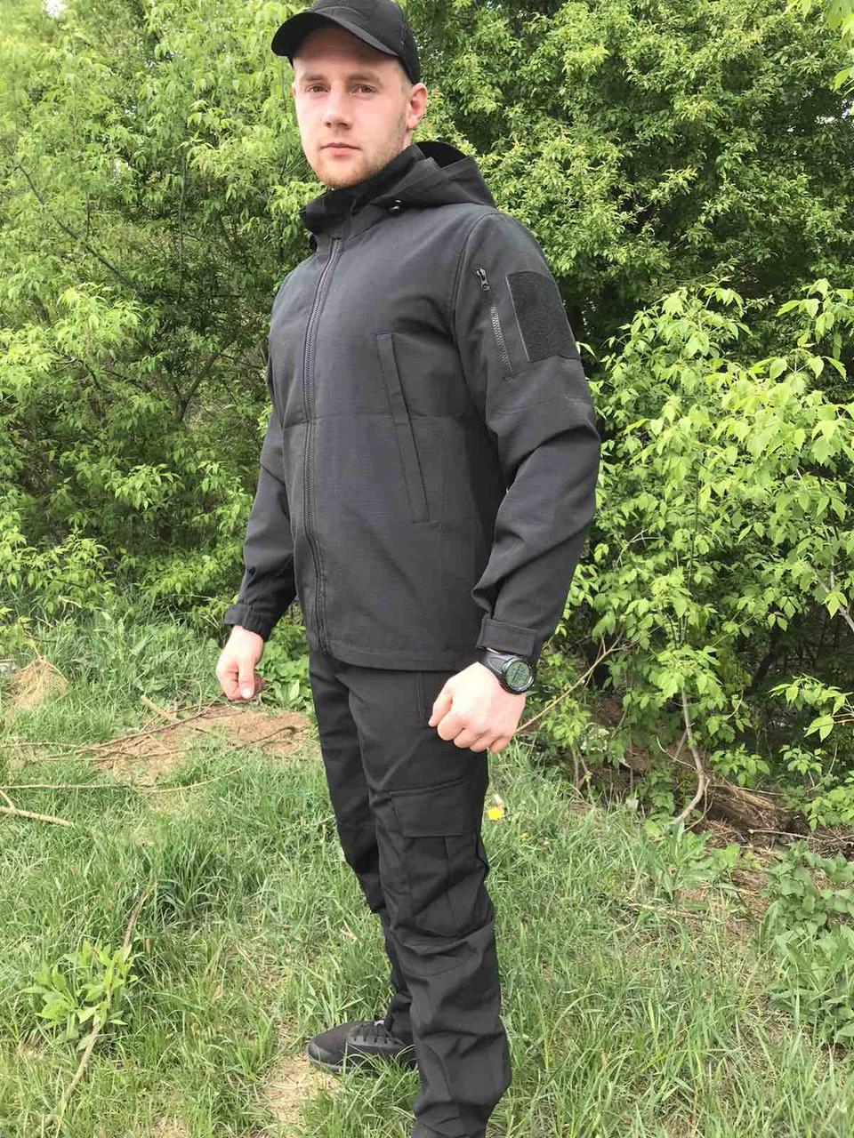 Летний тактический костюм рип-стоп черный. Костюм для охоты и рыбалки.