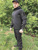 Летний тактический костюм рип-стоп черный. Костюм для охоты и рыбалки., фото 1