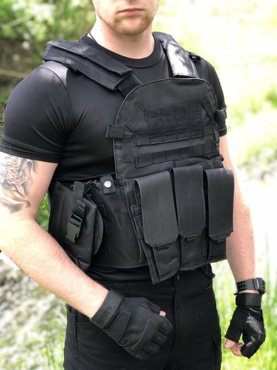 Армейский тактический разгрузочный жилет (разгрузка, плитконоска) с Molle, подсумками Материал оксфорд 800D