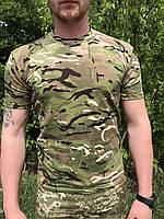 Тактическая футболка армейская мультикам Х/Б, футболка для рыбалки, охоты.