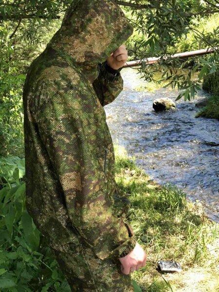 Костюм-сетка маскировочный камуфлированный с капюшоном для рыбалки летний