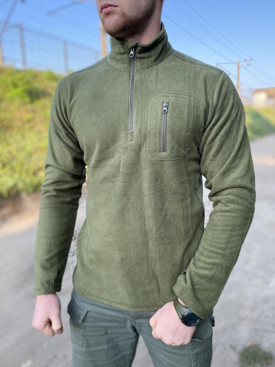 Пуловер реглан армейский, военный, для охоты и рыбалки теплый ESDY OLIVE