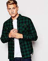 Мужская рубашка D-Struct (by Bellfield) - Alaska Flannel Check Shirt Green (чоловіча сорочка)