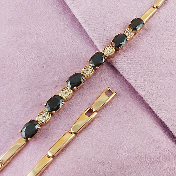 Браслет Xuping Jewelry 17,5/19 см Черный медицинское золото позолота 18К А/В 4-0138