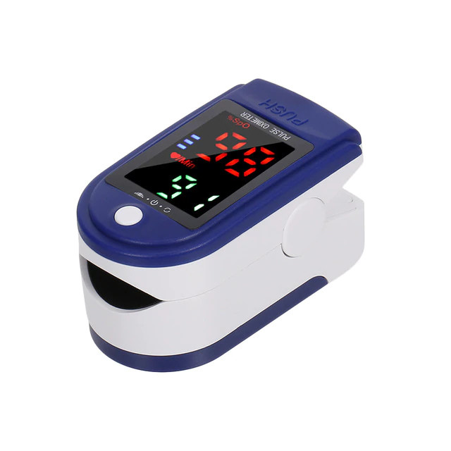 Пульсоксиметр медицинский на палец Fingertip Pulse Oximeter LK87 для измерения кислорода в крови Бело-синий