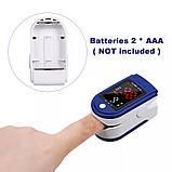 Пульсоксиметр медицинский на палец Fingertip Pulse Oximeter LK87 для измерения кислорода в крови Бело-синий, фото 7