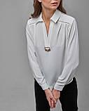 Блузка свободного силуэта с длинными рукавами и закругленным низом белая. Турция, фото 3