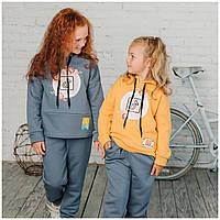 Дитячий спортивний костюм для дівчинки, з капюшоном на флісі, теплий Лілу   на ріст 122-146р.