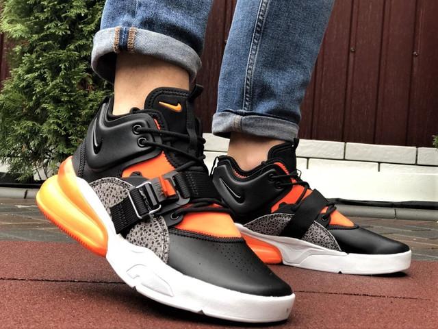 Демисезонные мужские кроссовки Nike Air Force 270 черные с оранжевым и белым кросівки в стилі Найк Аір Форс