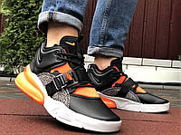 Демисезонные мужские кроссовки Nike Air Force 270 черные с оранжевым и белым. Кросівки в стилі Найк Аір Форс, фото 1