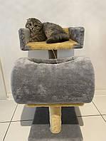 Когтеточка Пушистик с диваном с туннелем, серо-бежевая, 56*38 см