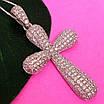 Серебряный крестик с фианитами - Женский серебряный крестик с камнями бриллиантовой закрепки, фото 3
