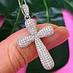 Серебряный крестик с фианитами - Женский серебряный крестик с камнями бриллиантовой закрепки, фото 6