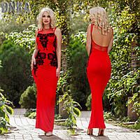 Длинное платье  из трикотажа с вырезом на спинке